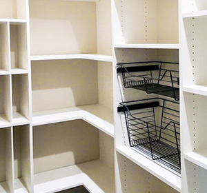 Slanted Shelves With Stoppers   Beyond Storage Closets U0026 Pantries